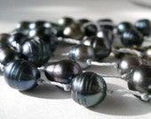 Blue Pearl Necklace / Long Hand Knotted Pearls / Dark Steel Blue