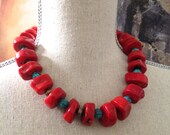 Red Coral Silver and Turquoise Statement Necklace