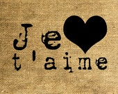 INSTANT DOWNLOAD Image Transfer Digital Collage Sheet - Je T'aime in Old Typewriter Font - Download and Print - Room29 Sheet no. 714