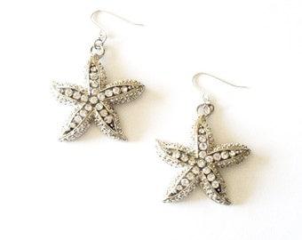 Rhinestone Starfish Earrings Silver Nautical Jewelry Mermaid Bride Bridal Party Bridesmaids Destination Beach Weddings Womens Gift For Her
