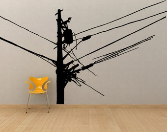 Vinyl Wall Decal Sticker Power Lines OSMB930B