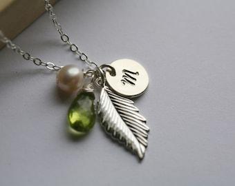 Custom monogram Necklace,Silver feather Necklace,Personalized initial,custom font birthstone,Wedding Jewelry,Fall Autumn Wedding,Bridesmaid