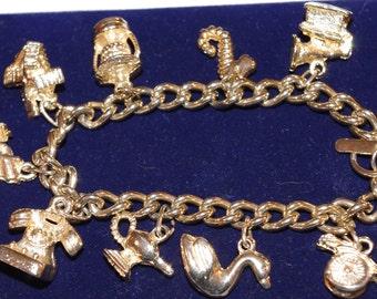 Vintage - Gold Plated multi charm bracelet
