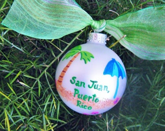 Beach Vacation Ornament - Custom - Personalized Hand painted Glass Ball - Christmas Ornament, Travel Bauble, Vacation Souvenir