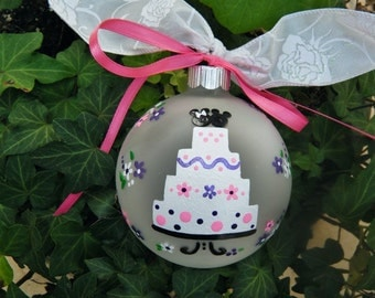 Disney Wedding Ornament - Personalized Hand Painted, Bride and Groom Gift, Personalized Wedding Bauble, Christmas Ornament, Wedding Cake
