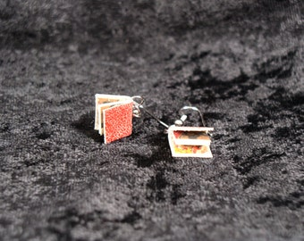 Distressed Red Leather Book Earrings, surgical steel, old paper and marbled endpapers