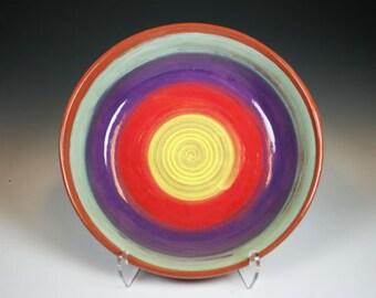 Ceramic Bowl, Pasta Bowl, Rainbow Colored Terra Cotta Bowl