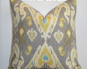 DOUBLE SIDED - Decorative Pillow Cover - Taupe - Yellow - Khaki - Teal - IKAT