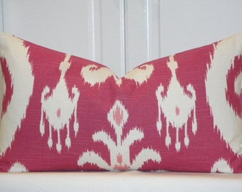 IKAT - Decorative Pillow Cover - Throw Pillow - Accent Pillow - Pink - Ivory -  Raspberry
