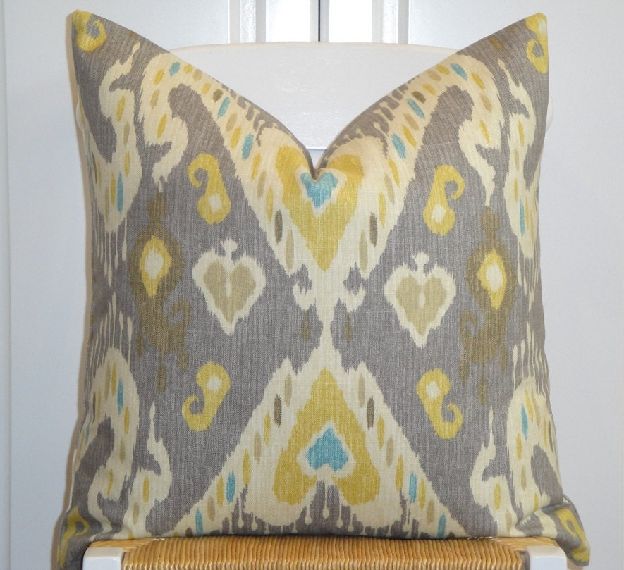 Double Sided Decorative Pillow Cover Taupe Yellow