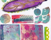 cool colors and bits art journal collage sheet