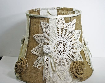 handmade lampshade, burlap and crochet lampshade, large upcycled lampshade, shabby cottage chic lampshade, ooak