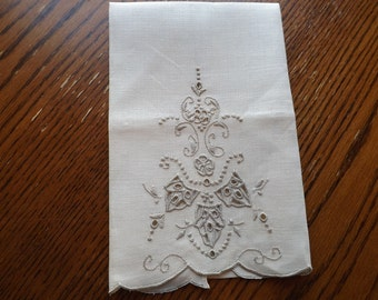 Linen Finger Towel With Vintage Hand Embroidered Cut Work