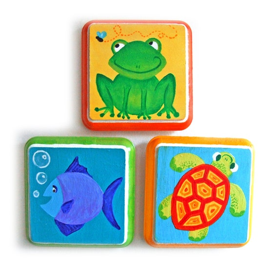 Art for Kids, FROG FISH TURTLE, Set of Three Handpainted 4x4 Plaques, Nursery Art, Kids Decor