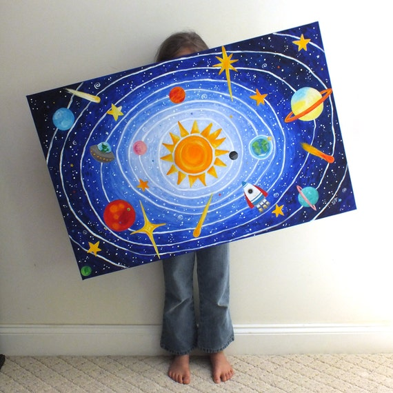 Childrens Wall Art SOLAR SYSTEM No.5 36x24 acrylic space
