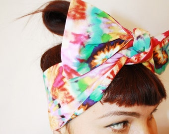 Vintage Inspired Head Scarf, Tie Dyed, Retro