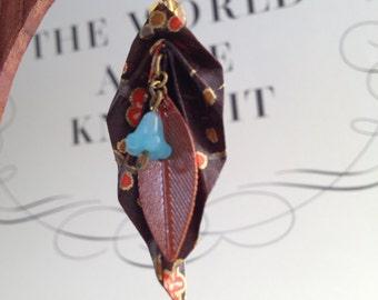 Origami leaf earrings- Winter bliss