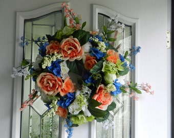 Spring/ Summer Wreath with Peach and White Peony, Blue Hydrangeas, bellflowers, roses and berries