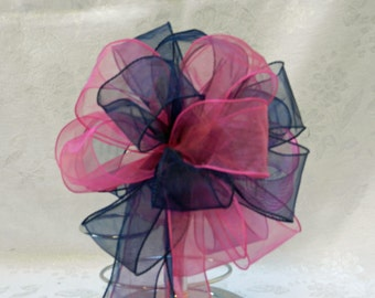 Wedding/ Pew Bows set of 10 Hot Pink and Navy Blue