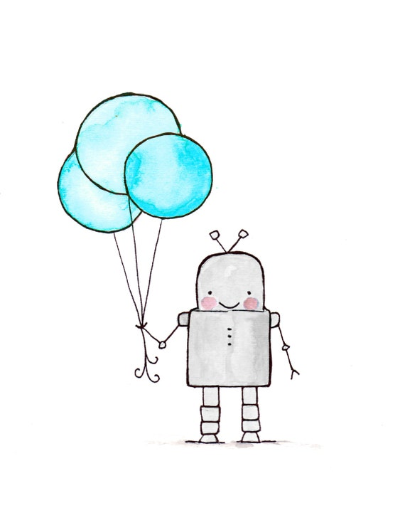 Hello robot archival print baby nursery print by ohhellodear for Robot baby room decor