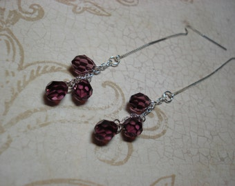 Triple Amethyst Crystals on Sterling Ear Threads-Threader Earrings-Necklace-FREE SHIPPING To U.S.-