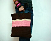 Brown Neon Pink Crochet Tote Bag Leather Handles