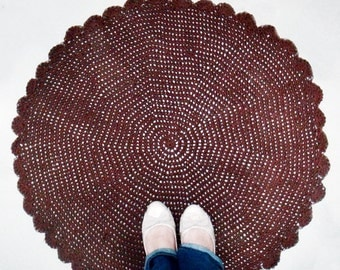 Brown Round Rug, Dark Brown Crochet Carpet