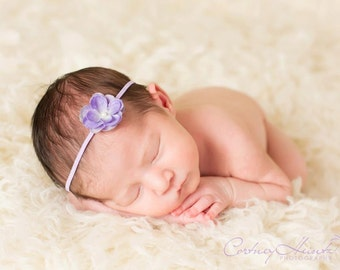 Tiny vintage lavender Petite Flower Headband, ivory Pearl and  violet purple Skinny Stretch Elastic. Newborn, Baby, Infant, Toddler, Girl
