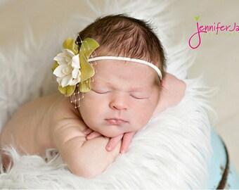 baptism headband, ivory baby headband, baby headband, newborn headbands, newborn headband, vintage flower headband