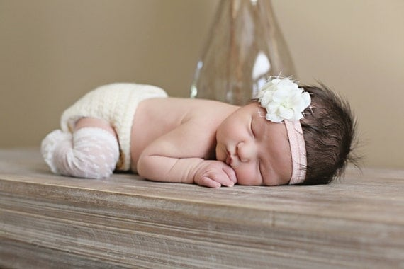 Champagne Flower Headband, baby headband with pearls crystals french bridal veil, Newborn photography props