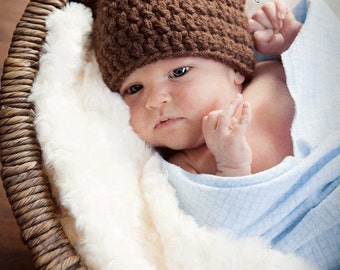 Crochet Brown Bear Ears Hat with a roll-brim for children, adults, photo props, playtime, costumes, etc.