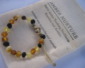 Baby Raw Multi Bracelet, Multi Coloured Baltic Amber, Bracelet or Anklet, Baby Length, Amber Nurture.