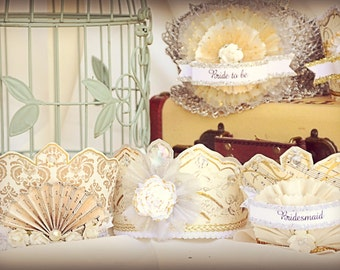 Limited Edition Wedding Party tiara crown set currently featured in Kate's Paperie in New York City