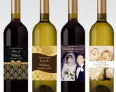 10th 25th 40th 50th GOLDEN SILVER ANNIVERSARY wine bottle labels favors