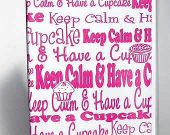 Cupcake passport cover, hot pink and white keep calm and have a cupcake passport wallet, women's travel wallet, document holder in vinyl