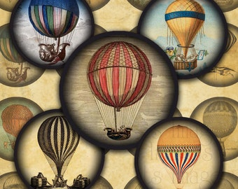 "Antique Hot Air Balloons Steampunk Digital Collage Sheet- 1.25"" Circles-- Instant Download"