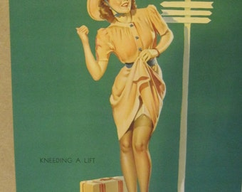 "vintage reproduction of Gil Elvgren ""Keeding a lift"" pin up girl"