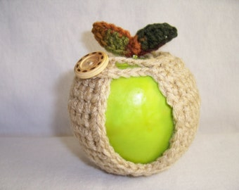 Handmade Crocheted Apple Cozy - Crochet Apple Cozy in Buff Color with Fall Color Leaves