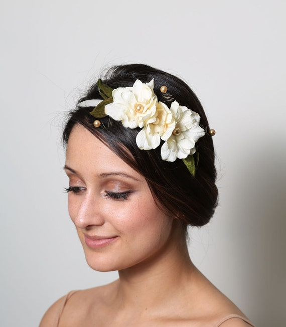 White Bridal Flower Headband with Gold Accents and Natural Dried Leaves
