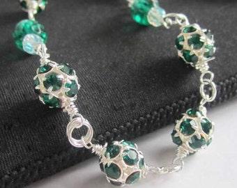 Emerald Green Necklace Silver Wire Wrap Rhinestone Crystal Necklace Beaded Handmade Jewelry - Desire
