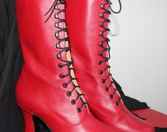 Red leather Victorian Booties Red shoes Red leather Victorian Boots Red Boots Historical Red Shoes Edwardian shoes Red Ankle lace up boots