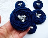 Navy Fabric Roses Handmade Appliques Embellishment 5 pcs