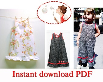 Sewing pattern and picture tutorial for Vaya Maxi Baby and Toddler Dress - pdf - sizes 3 Months to 6T - 64EU to 116EU