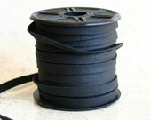 2 Yards 5mm Deertan Leather 3/16-inch Soft Black Leather Cording Cord
