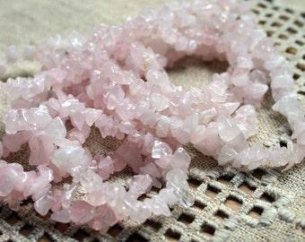 Rose Quartz Crystal 36 Inch Strand  Chips Gemstone Beads 12x5mm