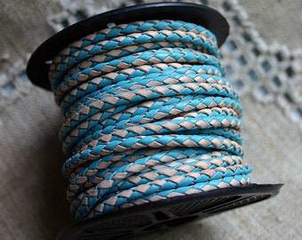 1 meter of 3mm Turquoise Natural Braided Bolo Leather Cord