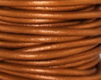 1mm Round Leather Cord Metallic Dusty Brown 2 yards 1.83m