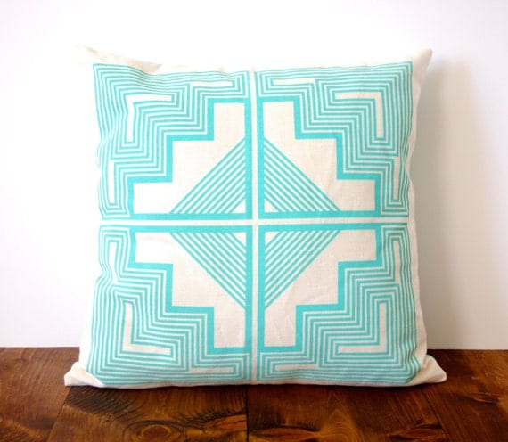 SALE // Native Quilt Pillow - Ocean / Turquoise / Blue - Screen Printed Organic Cotton