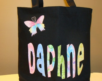 Girl's Large Personalized Tote with Butterfly Applique - kids book bag library school custom name birthday gift idea wedding flower girl