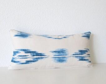 Blue ikat - 8x16 mini lumbar pillow